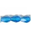 Fire polished 7X5mm Pear Shape Transparent dark Aqua Strung
